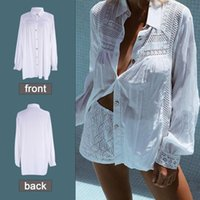Sexy White Beach Cover Up Blouse Shirt Summer Tunics Women Long Sleeve Swimsuit Cover-ups Tops Hollow Out Swimwear Women's