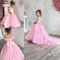 2021 Pink Flower Girl Dresses 3D Floral Bowknot Kids Little Girl's Formal Pageant Gowns Sweep Train Off The Shoulder Infant First Communion Birthday Dress AL8966