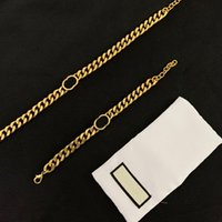 Stainless steel letter 14k gold cuban link chain strings necklace bracelet for mens and women Party lovers gift hip hop jewelry With BOX