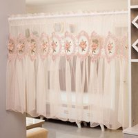 Korean Romantic Princess Style Flower Embroidery Short Curtain Partition Tulle For Home Decoration Small Door Drapes#4 & Drapes