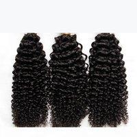 Malezya Kıvırcık Saç Işlenmemiş Malezya Kinky Kıvırcık İnsan Saç Dokuma 3 Paketler Lot 8A Sınıf Malezya Jerry Bukleler Saç Uzantıları Boyutlandırılabilir