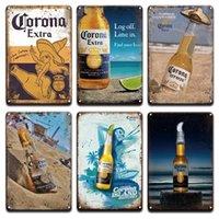 2021 Corona Dodatkowe Piwo Plakat Żelazo Malowanie Retro Peroni Bacardi Metalowe Znaki Blaszane Mójito Martini Cuba Libre Koktajl Plakiet Pub Mężczyzna Cave Bar Art Naklejki Wall Decor