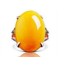 Avrupa ve Amerikan Moda High-end Taobao Kaplama 18 K Gül Altın İmitasyon Balmumu Yüzük Tmall Kız Altın Kakma Sarı Tavuk Gres Amber