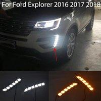 Автомобиль LED DRL для Explorer 2021 дневной подъемный свет поворот передний бампер вождения противотуманный противотуманный светильник мигает мигает дневные аварийные огни