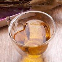 Tazza da caffè in vetro nuovo stile doppio stile a doppia parete termosato resistente al calore resistente al calore tazza di tè tazza di tè cuore tazze mare nave NHE5905