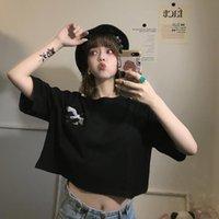 Frauen T-Shirt Frauen Stickerei Crop Top Koreanische Art T-shirt Kurzarm Tshirt Harajuku Ulzzang Sexy T-Shirt Kleidung Ästhetische Grafik-Cropps