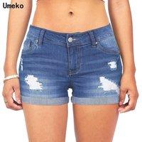 Kadın Kot Umeko 2021 Mavi Anne Kısa Kadın Vintage Yüksek Bel Yırtık Erkek Arkadaşı Artı Boyutu Sıkıntılı Skinny Denim Şort Pantolon