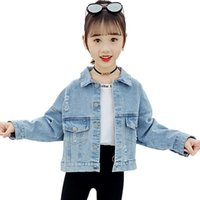 Jackets Girls Denim Jacket Outerwear Letter Pattern Coat For Casual Style Children's Spring Autumn Kids Clothing
