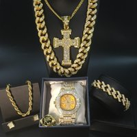 Men 'S Golden Watch Hip Hop Men Necklace Watch +Necklace +Bracelet Ring Combo Set Iced Outed Cuban Golden Jewelry Set