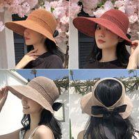 Bow Knitted Wide Brim Hats Women Straw Hat Empty Top Cap Casual Summer Visor Sports Woman Golf Tennis Outdoor Beach Headband Snapback Baseball Caps