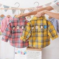 Children's long sleeve Plaid baby coat cardigan fashion children's spring and autumn Lapel shirt