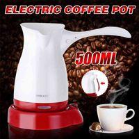 Portable Electric Coffee Maker Turkish Greek Coffee Machine 220V Espresso Tea Moka Pot Food Grade ABS Kettle Anti-slip Base 210408
