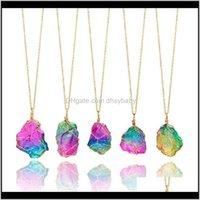 Pendentifs goutte livraison 2021 teinture pierre naturelle pendentif coloré druzy collier de guérison collier drusy colliers drusy cristal quartz stateme