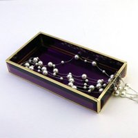Jewelry Pouches, Bags J60E Glass Tray Plate Translucent Dresser Cosmetics Perfume Storage Holder Display Makeup Organizer For Vanity
