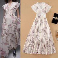 European and American catwalk style dress Lace stitching pri...