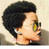 짧은 흑인 아프리카 변태 곱슬 아프리카 가발 여성을위한 인간의 머리 가발 일일 사용을위한 아프리카 곱슬 짧은 스타일 가발 없음 레이스 프론트 자연 검정