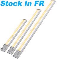 FR estoque LED Gabinete luzes USB Bateria de lítio recarregável lâmpada sem fio corpo sensing Barra de luz de luz magnética lâmpadas de guarda-roupa
