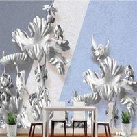 Wallpapers Milofi Custom 3D Wallpaper Mural Three-dimensional Relief Lotus Living Room Bedroom Background Wall Decoration Painting Wallpape