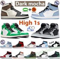 Nike Air Jordan University Blue 1 1S Мужчины Баскетбольные Обувь Jumpman Высокий темный Mocha Shadow Shadow Unc Патент Серебряный Ног Свет Свет Серый Чикаго Твист Королевские Спортивные кроссовки
