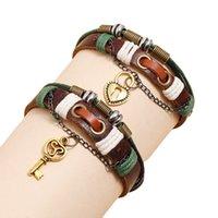 2Pcs set Cowhide Weave Multi Layer Bracelet Retro Men And Women Lovers Beaded Bracelets Fashion Jewelry Simplicity 8 5ht Q2
