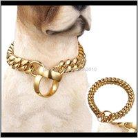 المقاود 14 ملليمتر سلسلة الأزياء طوق الذهبي الفولاذ المقاوم للصدأ زلة الكلب الياقات الكلاب الكبيرة اختناق قلادة قوية قلادة الفرنسية البلدغ 201030 l shr5j