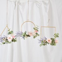 Fiori decorativi GATHONS Floral Metal Ring Hoop Greath Lavanda Artificiale Lavanda Artificiale e Eucalyptus appeso per feste di nozze Baby Shower Doccia