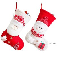 Christmas Tree Stockings Santa Claus Candy Gift Bag Old Man Snowman Red White Sock Xmas Party Hanging Decoration Supplies FWA9200