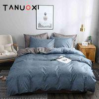 2/3 UNIDS Líneas de textura de color liso AB Face Duvet Cover Pillowcases Reina King Tamaño Confortable Ropa de cama Conjunto No Relleno Hoja de cama