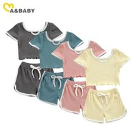 Ma&Baby 2-7Y Summer Child Kid Girls Clothes Set Tracksuit Knitted T Shirt Tops Shorts Outfits Casual Children Costumes DD15 Clothing Sets