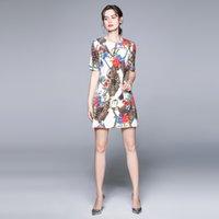 Dernière piste imprimée Mini-robe Vintage Femme 2021 Designer manches courtes Office O-Col Office Classic Slim A-Line Robes décontractées Été automne Sweet Party Farm de luxe