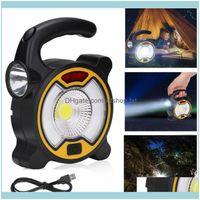 Tragbare und Wandern Sport OutdoorPortable Laternen Solar LED Flutlicht Wiederaufladbare Outdoor COB Arbeitsspot Lampe Camping mit USB Drop D