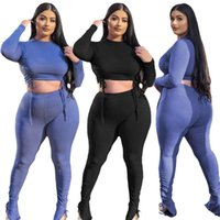 Plus Size Tracksuits ZKYZWX Knitted Two Piece Set Long Sleeve Bandage Crop Top Sweatpants Women Fall Outfits Tracksuit Casual Matching Sets