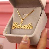 Anhänger Halsketten Gold Box Kette Benutzerdefinierte Schmuck Personalisierte Namenskette Handmade Cursive Typenschild Choker Frauen Männer Bijoux BFF Geschenk