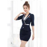 Work Dresses Women Suits Slim Summer V-neck Short Sleeve Blazers Skirt 2 Pieces Set Sexy 2236