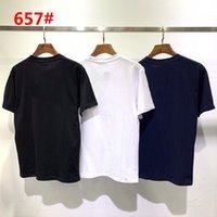 디자이너 # 657 남성 브랜드 반사 편지 T- 셔츠 옷 짧은 소매 원형 목 여름 패션 클래식 의류 3 색 M-2XL