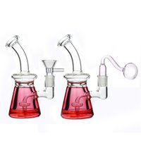 Mini Glass Beaker Bongs smoking Water Pipes 7Inch With glycerin coil frozen recycler dab Oil Rigs with 14mm glass oil burner pipes dhl free