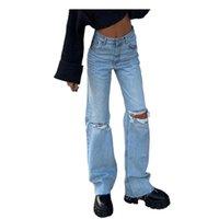 Straßenstil Freund zerrissene Jeans Frauen Hohe Taille Lose Blaue Tasche Elastische Hose Traf Jeans # P2 Frauen Hosen Capris