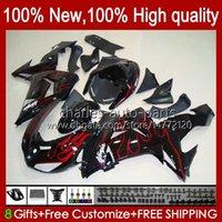 Carrosserie OEM pour Kawasaki Ninja ZX1000 ZX-10R ZX1000CC 06-07 Body Moto 14NO.9 ZX 10R 10 R 1000 CC 1000CC 2006 2007 ZX10R 06 07 ZX1000C 2006-2007 Flammes rouges