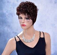 Fashion short Dark Brown Curly Synthetic High temperature Silk Women's Beatiful Hair wig