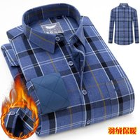 Men's Dress Shirts 2021 Winter Trendy Down Warm Shirt Cotton Padded Clothes Middle-aged And Elderly Quality Wear