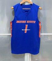 Дешевые оптом Boise State Broncos # 1 Мужская баскетбольная игра Джерси Синяя футболка Жилет сшитые баскетбольные майки NCAA
