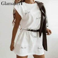 Casual Dresses Glamaker Letter Printed Loose Women Dress Sexy Sleeveless Summer Spring Short 2021 Fashion Holiday Mini