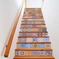 13 Adet Desen Kitaplar Çiçek PVC Merdiven Merdiven Sticker Duvar Kağıdı Ayakkabı Çıkartmaları Kendinden Yapışkanlı Duvar Merdiven Dekor Posterler Duvar Kağıtları