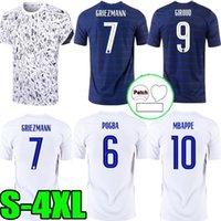 S-4XL 2021 2022 FRANCIA MBAPPE Griezmann Pogba Giroud Kante Jerseys 20 21 Hogar lejos Camisetas de fútbol Camisetas de fútbol de manga blanca corta Traje de entrenamiento