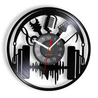 Wall Clocks Musical Instruments Headphone Gramophone Record Clock Vintage Microphone Guitar Soundwave Room Art Decor Rock N Roll Gift