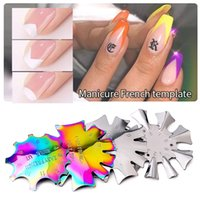 Multi-Size Nail Templates French Smile Line Edge for Manicure Design 2021 Stainless Steel Nails Stencils Tools DIY Hand Art Decoration