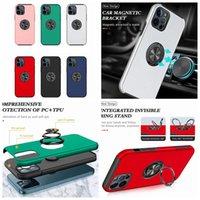 Manyetik Araba Braketi Dağı 360 Parmak Yüzük Tutucu Sert PC TPU Kılıfları iphone 12 Mini 11 Pro Max XR XS X 8 7 Artı Silikon Standı Kickstand Moda Cep Telefonu Arka Kapak