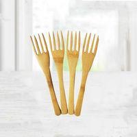 Yaratıcı Doğal Bambu Çatal Dört Diş Kullanımlık Çatal Bambu Tatlı Çatal Meyve Çatal Ev Yemek T2I51846