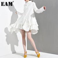 [EAM] Новая весна осень стойки воротник с длинным рукавом белый нерегулярный подол оборками свободная рубашка женская блузка модный прилив 200925