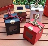 صناديق كعكة نافذة شفافة كرافت ورقة مربع طوي كب كيك التفاف حزمة عيد الحب عيد الميلاد هدية مربعات التعبئة والتغليف AHA4635